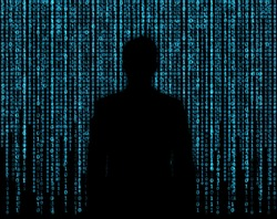 Silhouette of businessman who is appeared through the matrix background
