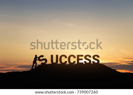Silhouette of businessman with the word