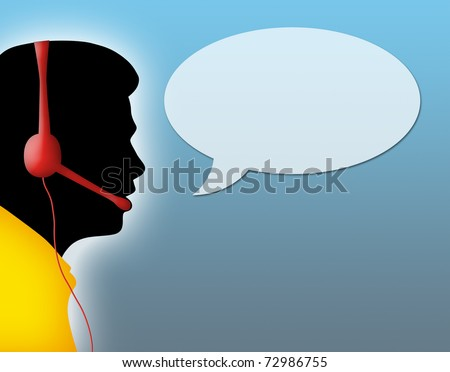 Silhouette of call center agent with space for text.