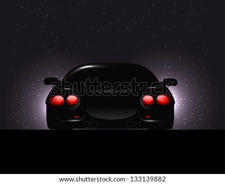 Silhouette of car with backlights on  dark background. Raster version.