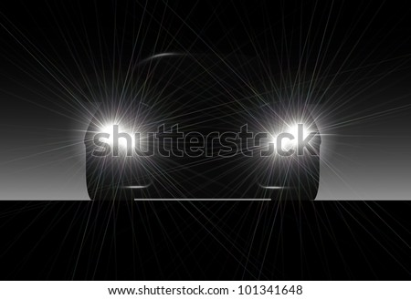 Silhouette of car with headlights on black background.