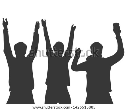Silhouette of 3 cheering football, soccer, music, festival or party Fans