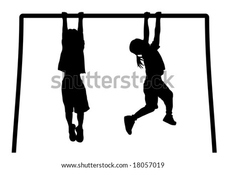 silhouette of children playing on monkey bars