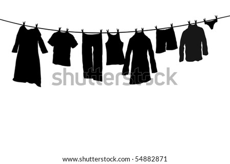 Silhouette of clothes drying on the rope with clothes-peg - stock ...