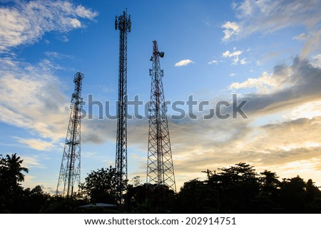 Silhouette of Communication Tower