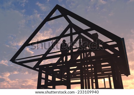 Silhouette of construction of a wooden house