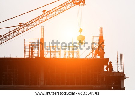 Silhouette of Construction on sunset #663350941