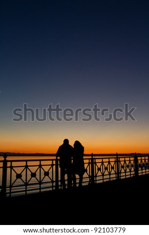 silhouette of couple enjoying sunset at lake constance