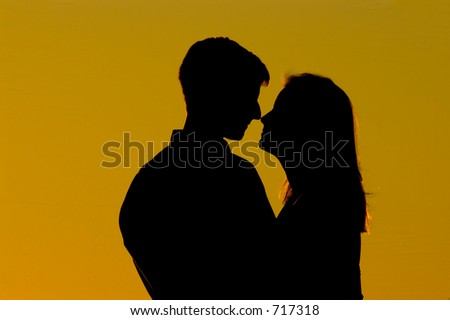 in love silhouette. Silhouette Of Couple In Love!