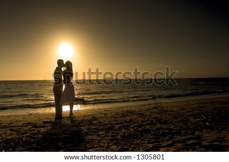 couple kissing silhouette image. Silhouette Of Couple Kissing