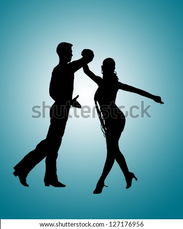 Silhouette of Couple of Young Adult Man and Woman Dancing Latin Ballroom Dance Rumba