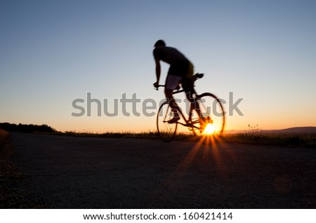 silhouette of cyclist  #160421414