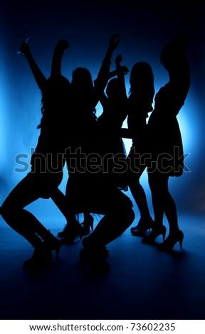 silhouette of dancing girls Stockfoto ©