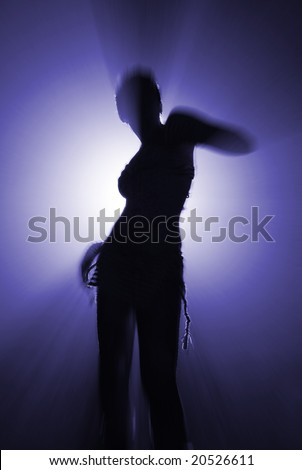 silhouette of dancing woman in blue colour