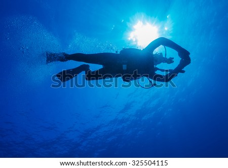 Stock Photo Silhouette of diver with sun disk behind