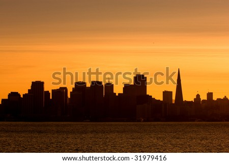 Silhouette of downtown San Francisco at sunset