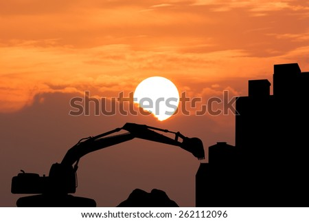 silhouette of  excavator Construction works, construction machinery, bulldozer, excavation, factory