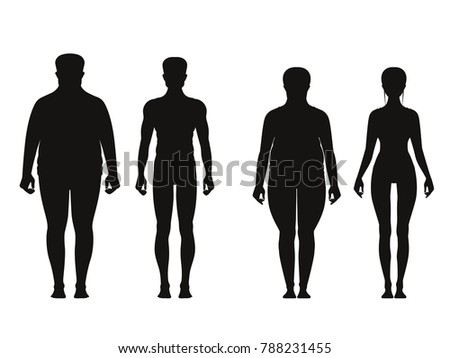Silhouette of fat and thin peoples. Weight loss of overweight man and fat woman. illustrations isolated. People overweight and black silhouette man and woman with obesity