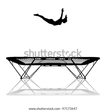 silhouette of female gymnast jumping in trampoline