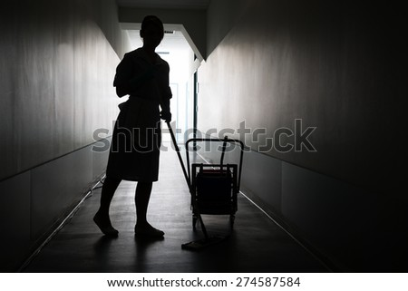 Silhouette Of Female Maid With Mop Cleaning Floor Of Hall