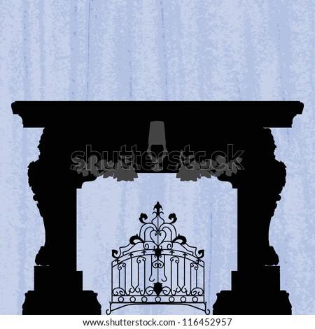 silhouette of fireplace with forged product on a scratched blue wallpaper/ template design of invitation with fireplace