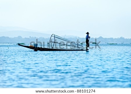 Silhouette of Fisherman in inle lake, Myanmar.