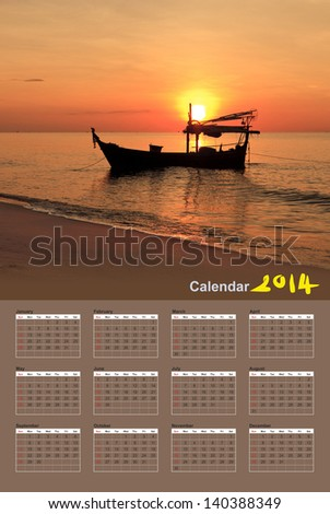 Silhouette of fishing boat at sunset, Calendar 2014