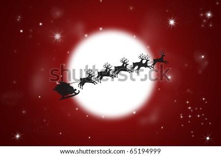 Silhouette of Flying Santa and Christmas Reindeer