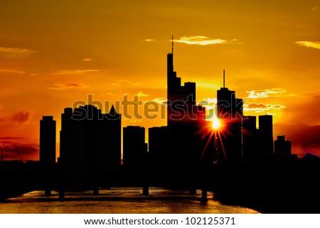 silhouette of Frankfurt, Germany - Sunset