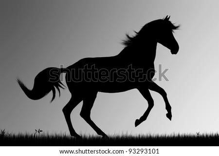 Silhouette of galloping horse on gray  background