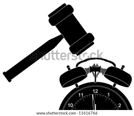 silhouette of gavel smashing down alarm clock