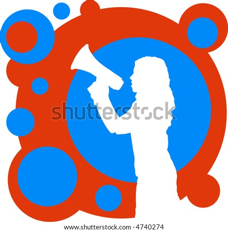 Silhouette of girl with megaphone on decorative backdrop