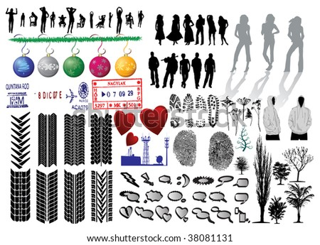 Silhouette of girls and collection of Fingerprints, Footprints and more