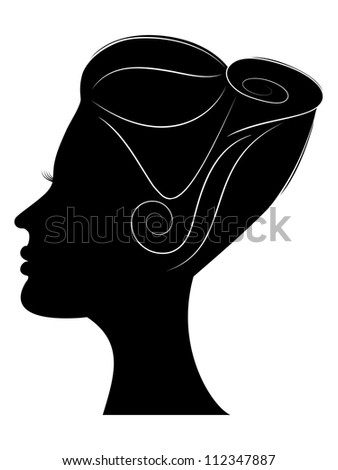 Silhouette of girls profile with beautiful hairstyle