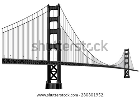 silhouette of golden gate bridge in black color