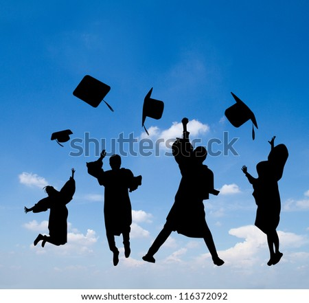Silhouette of graduates celebrating