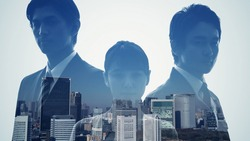 Silhouette of group of businessperson and modern cityscape. Double exposure.