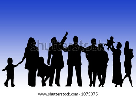 Silhouette of group of people on blue background
