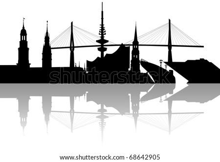 Silhouette of Hamburg skyline - stock photo