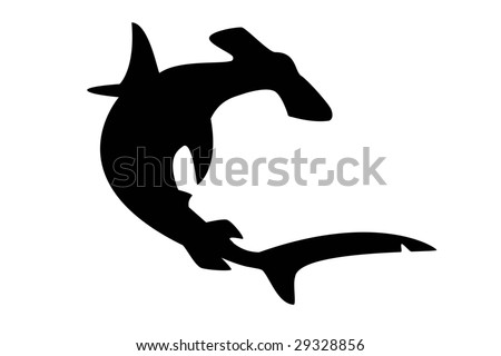 stock photo : silhouette of hammerhead shark