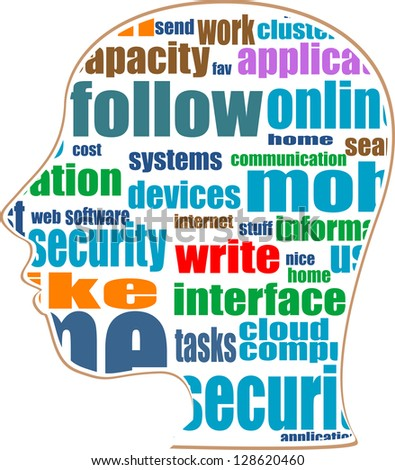 silhouette of head with the words on the topic of social networking, raster
