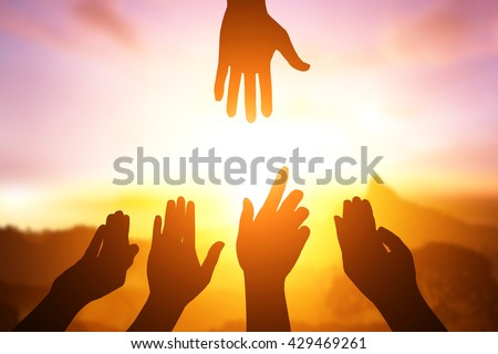 silhouette of helping hand concept and international day of peace.how can i help you #429469261