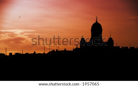 Silhouette of Helsinki concentrating on the main Cathedral