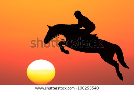 Silhouette of horse with equestrian on the sunset background