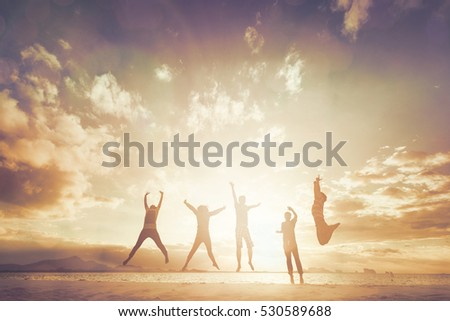 Silhouette of International cheering new generation jump on beautiful background. concept for color running activity, relax lifestyle, hope faith love, growing seller Trader Happiness for stock market #530589688