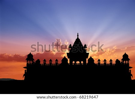 Silhouette of Jaswant Thada rajah memorial at sunset, Jodhpur, Rajasthan, India.
