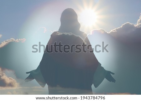 Silhouette of Jesus Christ and cloudy sky, double exposure Stock photo ©