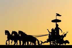 Silhouette of Lord Krishna and Arjuna statue  (Mahabharata)