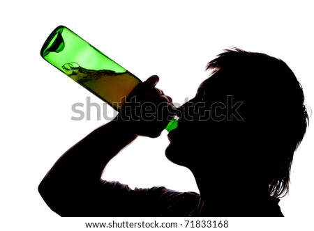 Silhouette of man drinking alcohol. Isolated on white