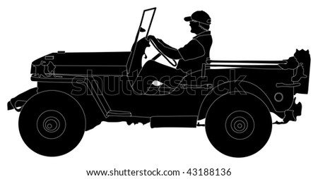 Silhouette of man driving a Jeep
